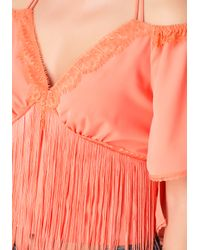 Bebe Pink Fringed Flounce Sleeve Top