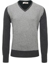 Jules B - Gray Houndstooth V-Neck Sweater for Men - Lyst