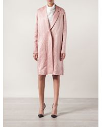 Lanvin Pink Satin Oversized Coat