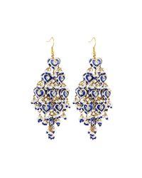 Chamak by Priya Kakkar Blue Diamond-shape Tiered Chandelier Earrings