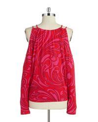 MICHAEL Michael Kors | Pink Cold-shoulder Top | Lyst