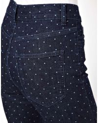 Just Female | Blue Skinny Jean in Dot Print | Lyst