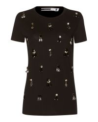 Sportmax Code | Black Shortsleeve Crew Neck Embellished Tshirt | Lyst