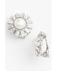 Lauren by Ralph Lauren - Metallic Faux Pearl & Crystal Clip Earrings - Lyst