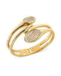 Robert Lee Morris | Metallic Goldtone Pave Oval Hinged Bangle Bracelet | Lyst
