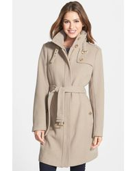 MICHAEL Michael Kors Natural Stand Collar Wool Blend Trench Coat