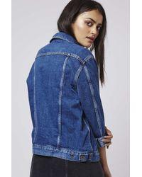 TOPSHOP - Blue Moto Oversized Western Jacket - Lyst