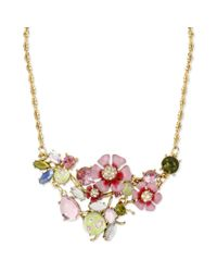 Betsey Johnson - Metallic Gold Tone Flower Crystal Bug Cluster Frontal Necklace - Lyst
