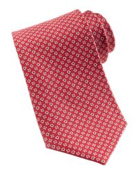 Ferragamo Gancini Flower Silk Tie Red for men