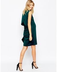 ASOS - Blue Maternity Nursing Dress With Drape Back And Double Layer - Lyst