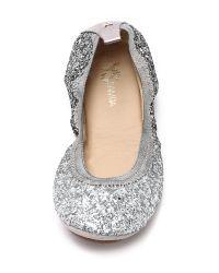 Yosi Samra - Metallic Serena Glitter Ballet Flats - Oxidized Gold - Lyst