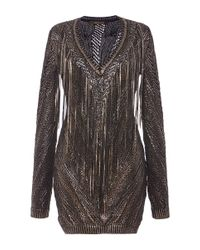 Roberto Cavalli Metallic Black And Gold Leather Fringe Knit Dress