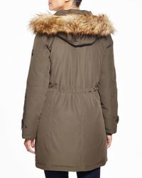 Kors by Michael Kors   Green Missy Parka With Faux-fur Trim   Lyst