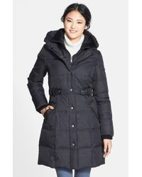 DKNY | Black 'Faith' Front Insert Pillow Collar Quilted Coat (Online Only) | Lyst