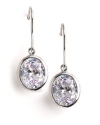 Lord & Taylor | Metallic Sterling Silver Faceted Oval Drop Earrings | Lyst