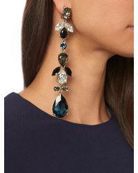 Oscar de la Renta - Blue Teardrop Crystal-embellished Earrings - Lyst