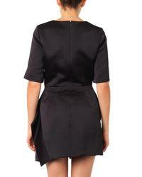 McQ Black Sculpted Peplum Satin Dress