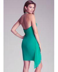 Bebe Green Draped Overlay Dress