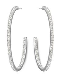 Swarovski | Metallic Crystal Pave Hoops - 1.8 In. | Lyst