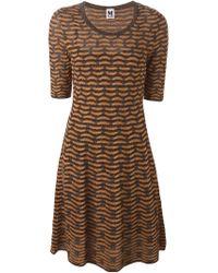 M Missoni | Black Three-Quarter Sleeve Knit Dress | Lyst