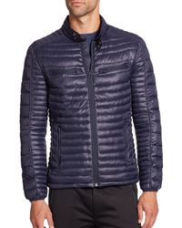 Saks Fifth Avenue - Blue Quilted Puffer Coat for Men - Lyst