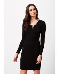 Miss Selfridge Black Eyelet Rib Dress