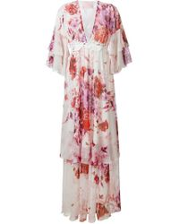 Giamba Pink Floral Silk and Cotton-Blend Dress