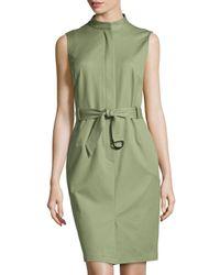 Lafayette 148 New York | Green Sleeveless Belted Stretch-Twill Sheath Dress | Lyst