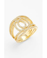 Bony Levy | Metallic 'double Interlock' Diamond Cocktail Ring | Lyst