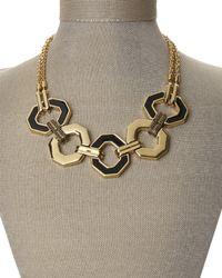 Rebecca Minkoff | Metallic Gold-Tone & Black Accented Necklace | Lyst