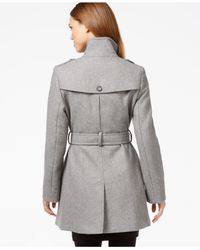 DKNY Gray Double-breasted Belted Peacoat
