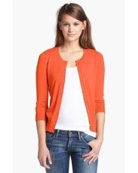 Halogen Orange Three Quarter Sleeve Cardigan
