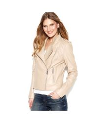 Michael Kors Natural Quilted Leather Motorcycle Jacket