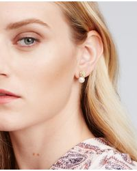 Ann Taylor | Metallic Double Pearlized Pave Stud Earrings | Lyst