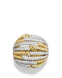 David Yurman   Metallic Labyrinth Dome Ring With Diamonds In Gold   Lyst