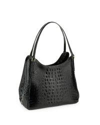 Brahmin Black Dayton Embossed Leather Shoulder Bag