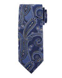 Ike Behar Blue Medallion Paisley Silk Tie for men