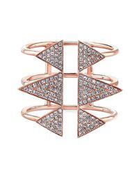 Anne Sisteron - Pink 14kt Rose Gold Diamond Triple Spike Ring - Lyst