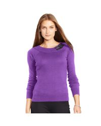 Pink Pony | Purple Buckled-tab Cotton Sweater | Lyst