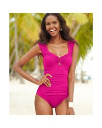 Kenneth Cole | Pink Ruched Hardware Onepiece Swimsuit | Lyst
