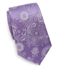 Saks Fifth Avenue - Purple Silk Paisley Tie for Men - Lyst