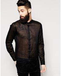 ASOS Black Shirt In Sheer Fabric With Mesh Back for men