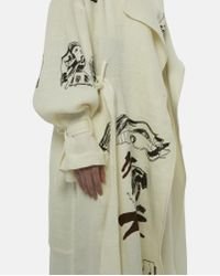 Claire Barrow Natural Printed Belted Linen Coat