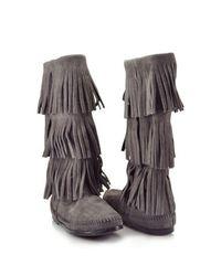 Minnetonka | Gray Suede Fringe Boot | Lyst