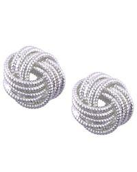 Nine West | Metallic Silver-tone Love Knot Stud Earrings | Lyst