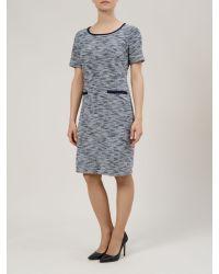 Minuet Petite Blue Textured Shift Dress