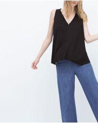 Zara | Black T-shirt With Edging Detail | Lyst