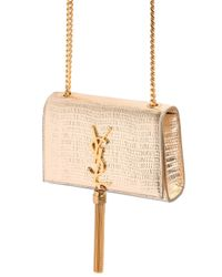 Saint Laurent Classic Monogram Metallic Leather Shoulder Bag