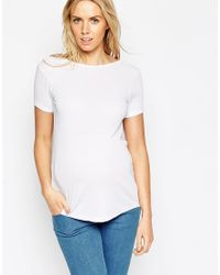 ASOS | White T-shirt With Cowl Back In Baby Rib | Lyst