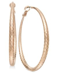 INC International Concepts | Metallic Rose Gold-tone Disco Hoop Earrings | Lyst